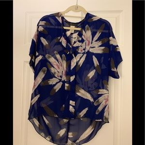 KLD Signature Blue Feather Top - Size M